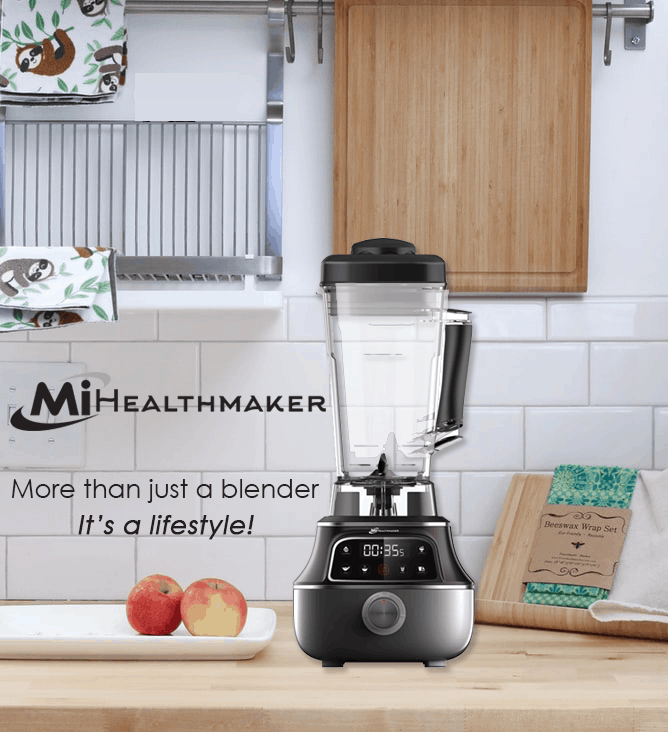 mihealthmaker high power blender in kitchen